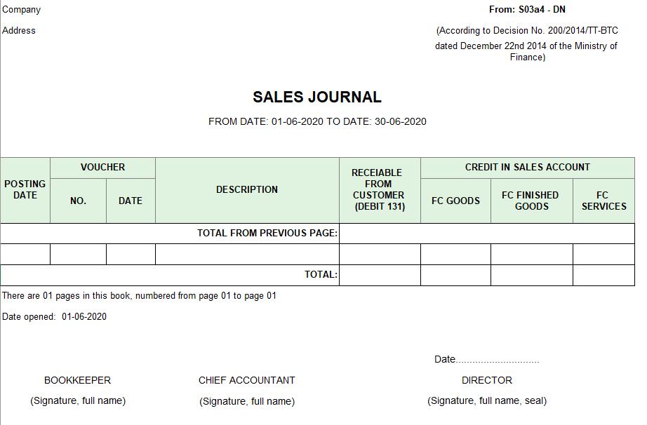 Mẫu sổ nhật ký bán hàng ( TIẾNG ANH - Ngoại tệ) theo TT200/2014/TT-BTC