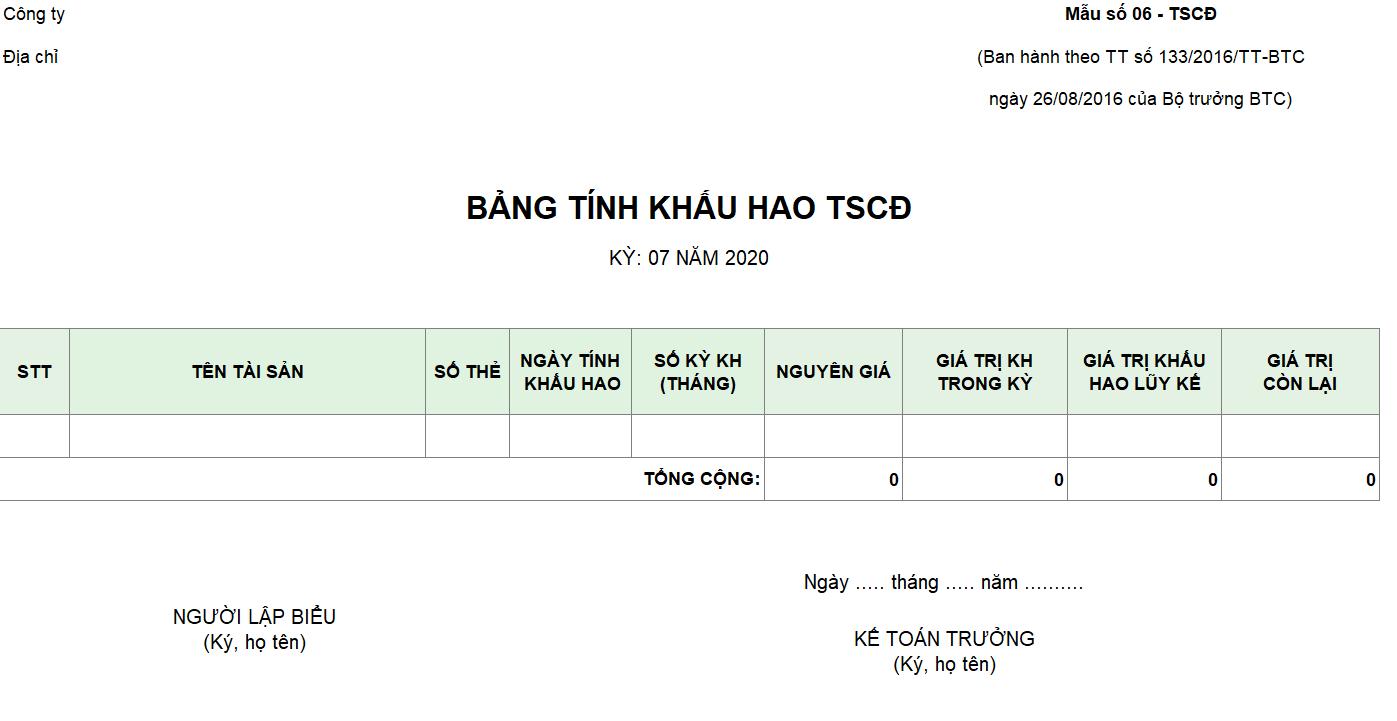 Mẫu bảng tính khấu hao TSCĐ theo TT 133
