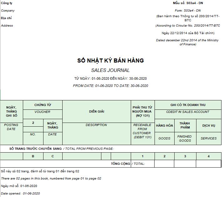 Mẫu sổ nhật ký bán hàng ( Song ngữ ) theo TT200/2014/TT-BTC