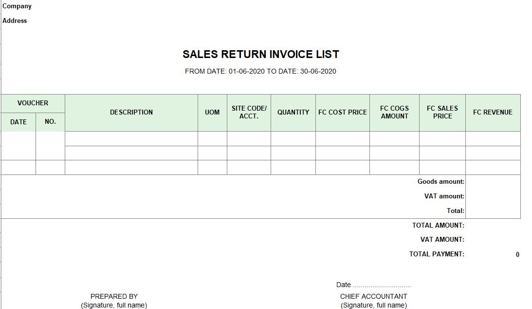 Mẫu bảng kê hóa đơn hàng bán bị trả lại ( TIẾNG ANH - Ngoại tệ)
