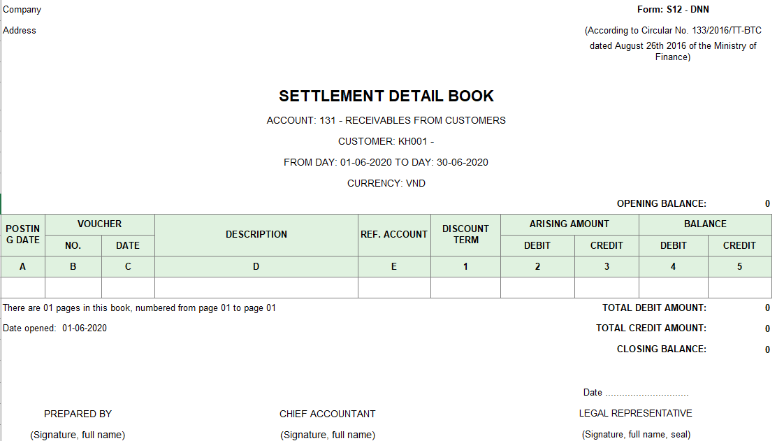 Mẫu sổ chi tiết thanh toán với người mua (người bán) ( TIẾNG ANH) theo TT133/2016/TT-BTC