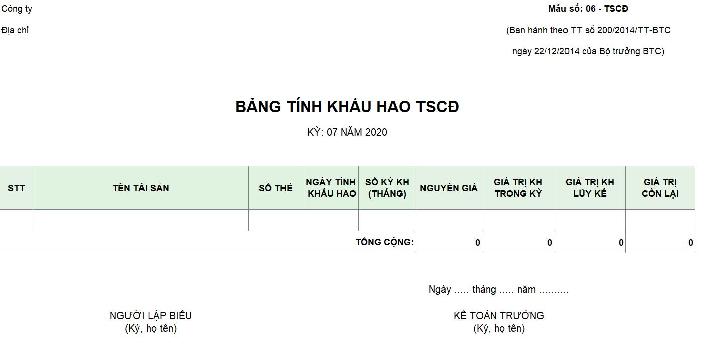 Mẫu bảng tính khấu hao TSCĐ theo TT 200