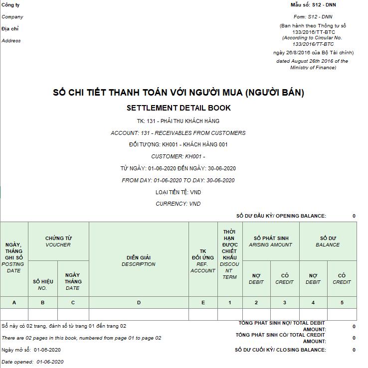 Mẫu sổ chi tiết thanh toán với người mua (người bán) ( Song ngữ) theo TT133/2016/TT-BTC