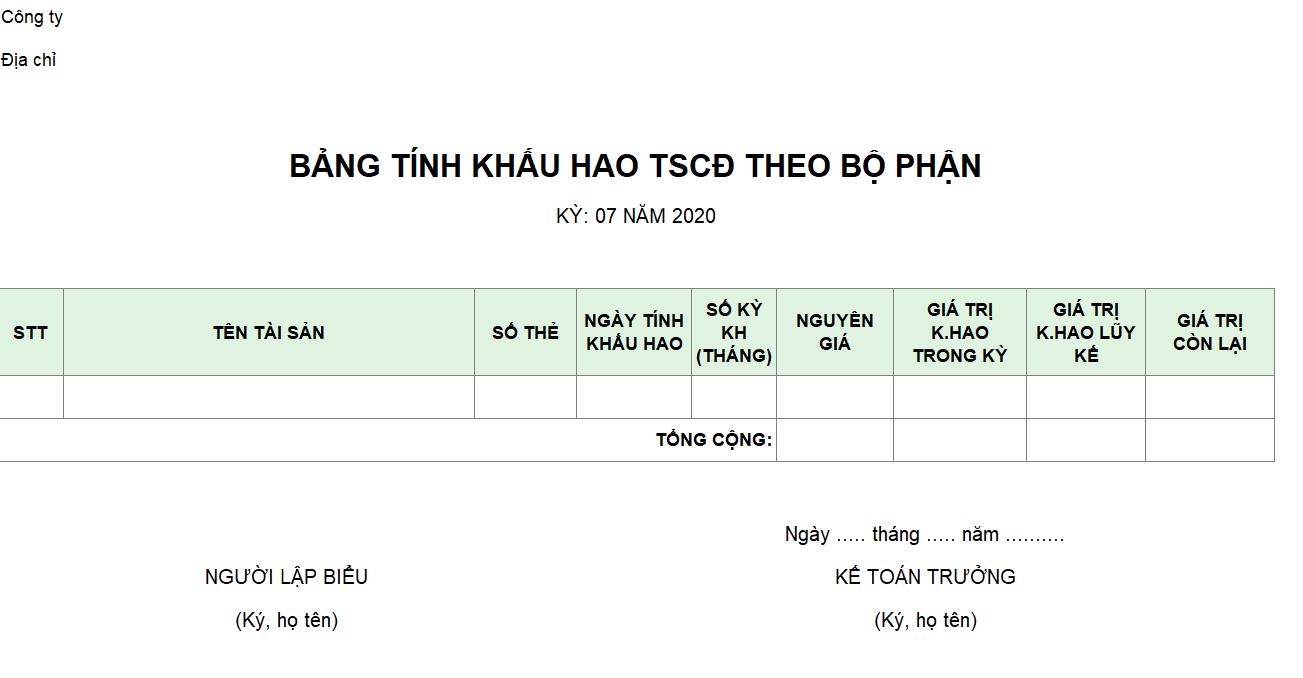 Mẫu bảng tính khấu hao TSCĐ theo bộ phận
