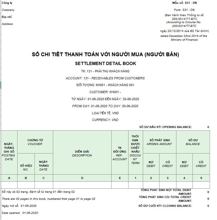 Mẫu sổ chi tiết thanh toán với người mua (người bán) ( Song ngữ) theo TT200/2014/TT-BTC
