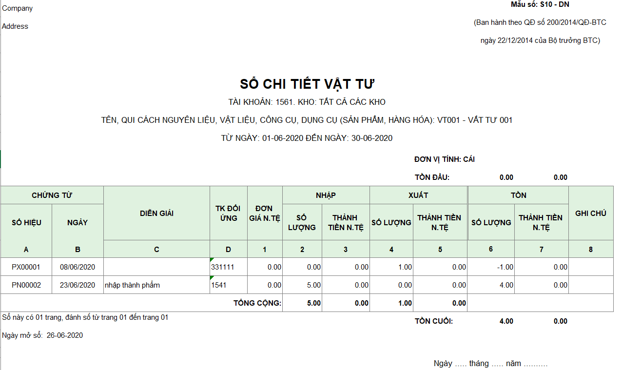 Mẫu sổ chi tiết vật liệu, dụng cụ, SP, hàng hóa ( Ngoại tệ)  S10-DN theo TT 200