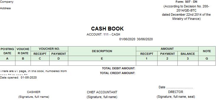 Mẫu sổ quỹ tiền mặt ( TIẾNG ANH - Ngoại tệ) theo TT200/2014/TT-BTC ngày 22/12/2014 của Bộ Tài chính