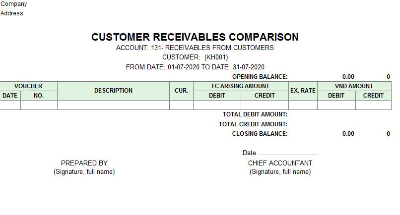 Mẫu sổ đối chiếu công nợ ( TIẾNG ANH - Ngoại tệ)