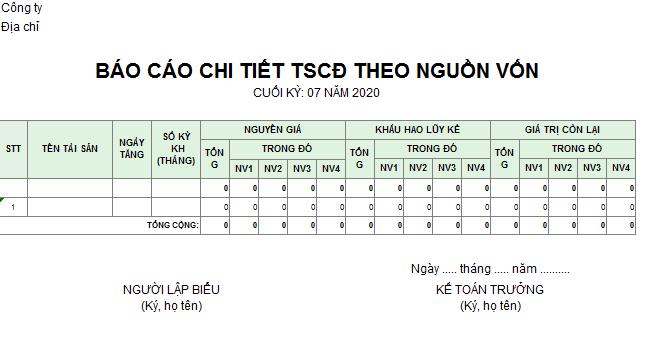 Mẫu báo cáo chi tiết TSCĐ theo nguồn vốn