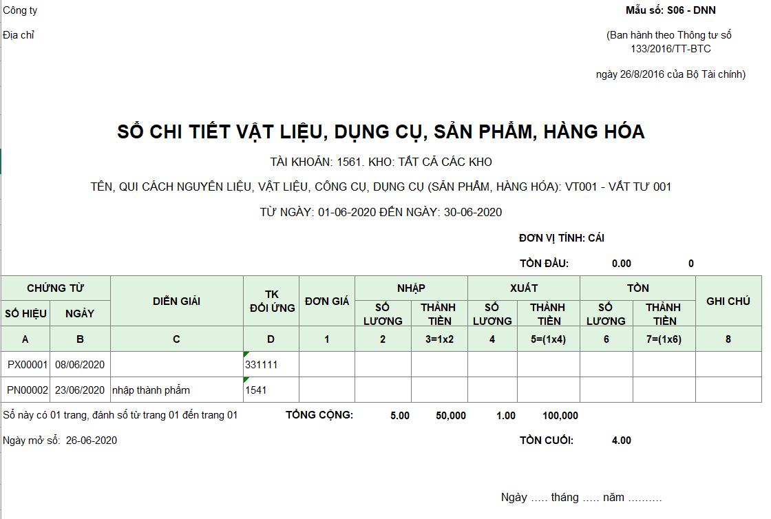 Mẫu sổ chi tiết vật liệu, dụng cụ, SP, hàng hóa S10-DN theo TT 133