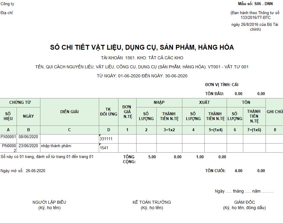 Mẫu sổ chi tiết vật liệu, dụng cụ, SP, hàng hóa ( Ngoại tệ ) S10-DN theo TT 133