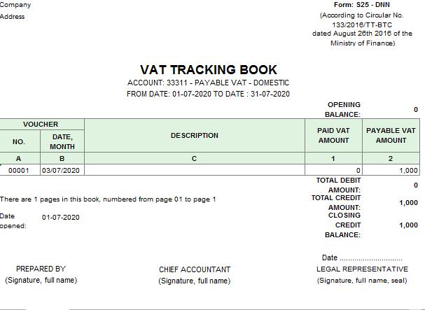 Mẫu sổ theo dõi thuế giá trị gia tăng theo TT 133 ( TIẾNG ANH)