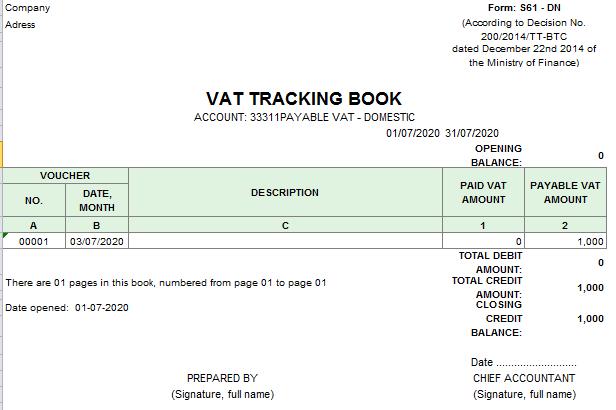 Mẫu sổ theo dõi thuế giá trị gia tăng theo TT200 ( TIẾNG ANH)