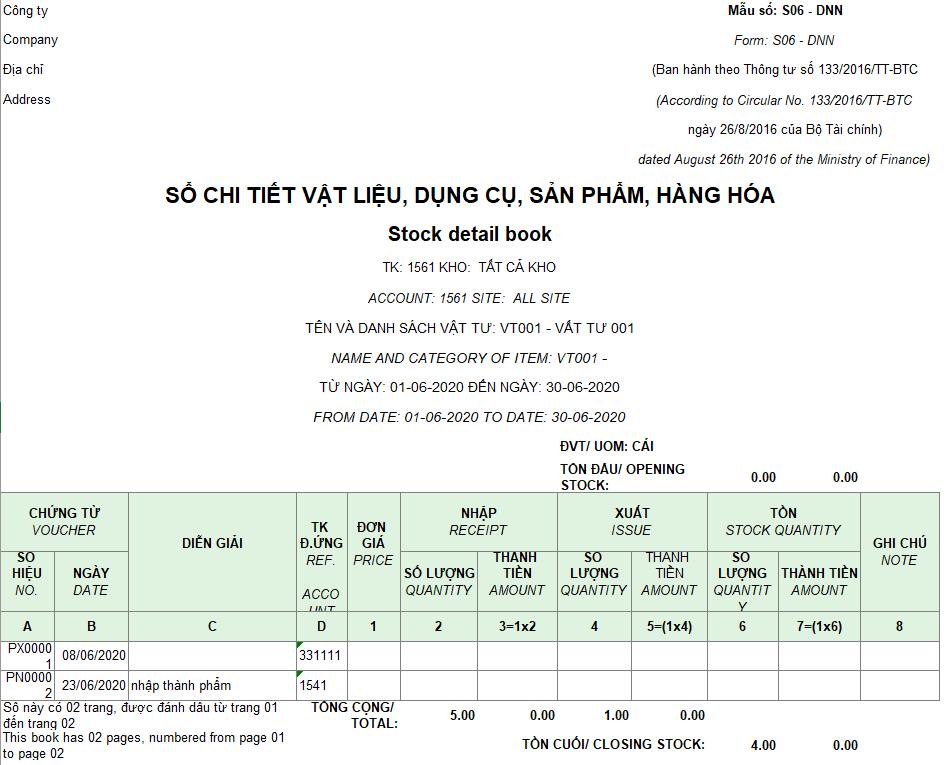Mẫu sổ chi tiết vật liệu, dụng cụ, SP, hàng hóa ( Song ngữ - Ngoại tệ ) S10-DN theo TT 133