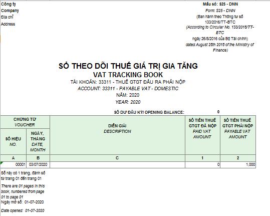 Mẫu sổ theo dõi thuế giá trị gia tăng theo TT 133 ( Song ngữ)