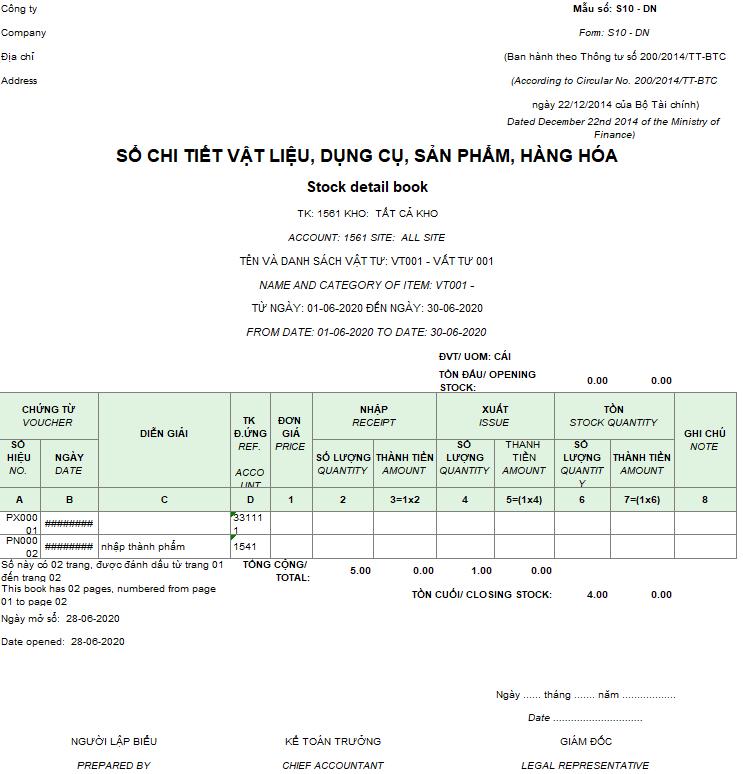 Mẫu sổ chi tiết vật liệu, dụng cụ, SP, hàng hóa ( Song ngữ - Ngoại tệ) S10-DN theo TT 200