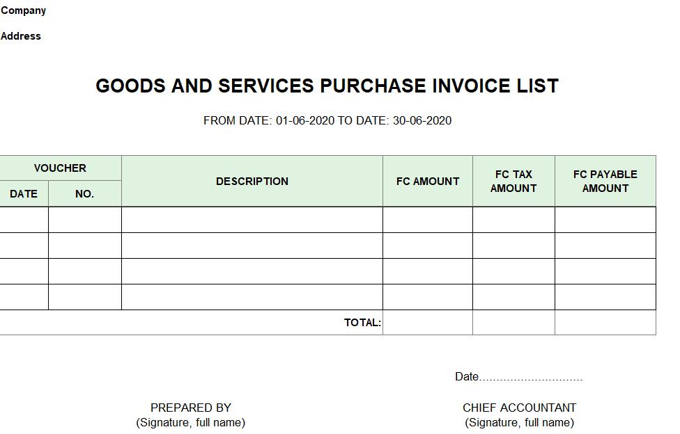 Mẫu bảng kê hóa đơn mua hàng hóa và dịch vụ (TIẾNG ANH - Ngoại tệ )