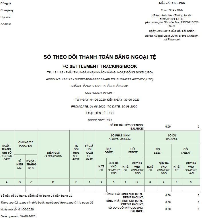 Mẫu Sổ theo dõi thanh toán bằng ngoại tệ ( Song ngữ) theo Thông tư 133/2016/TT-BTC