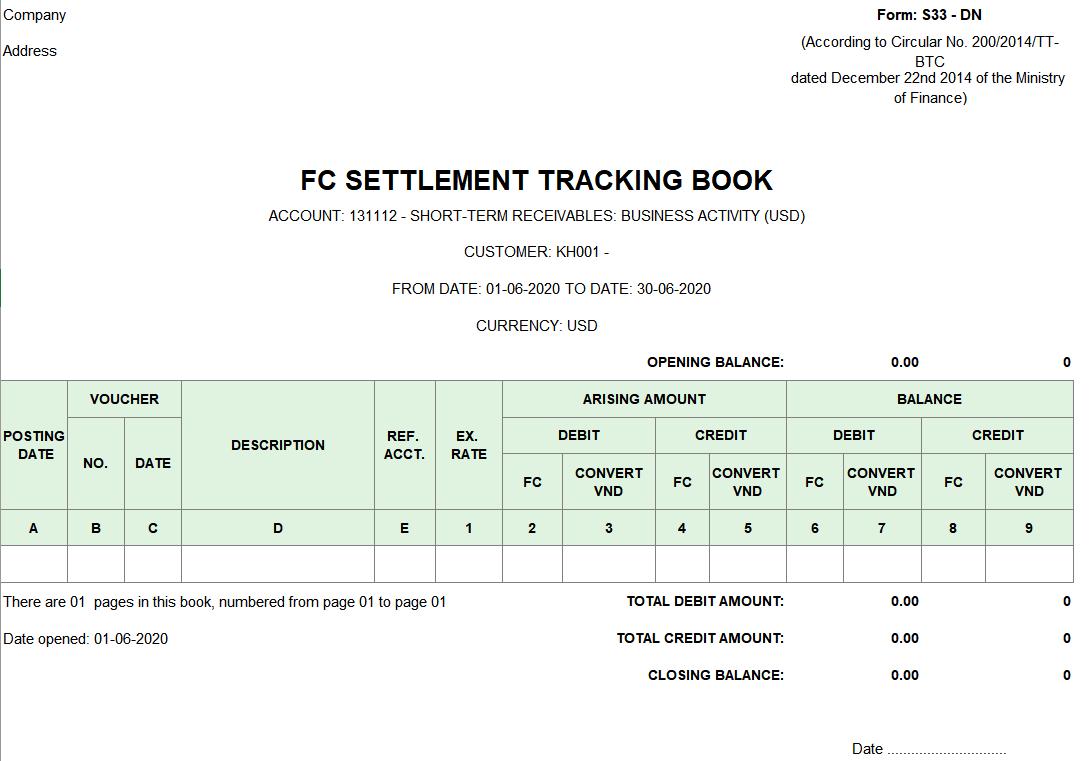 Mẫu Sổ theo dõi thanh toán bằng ngoại tệ ( TIẾNG ANH) theo Thông tư 200/2014/TT-BTC