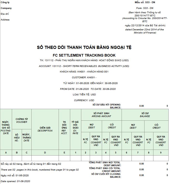 Mẫu Sổ theo dõi thanh toán bằng ngoại tệ (Song ngữ) theo Thông tư 200/2014/TT-BTC