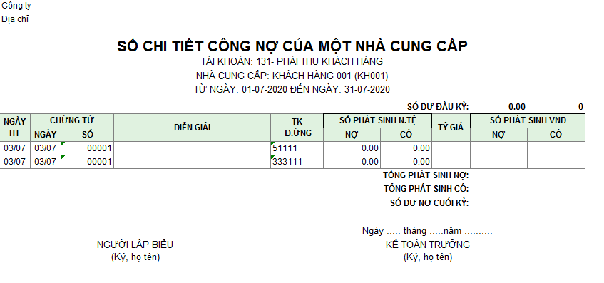 Mẫu sổ chi tiết công nợ của một nhà cung cấp ( Ngoại tệ)