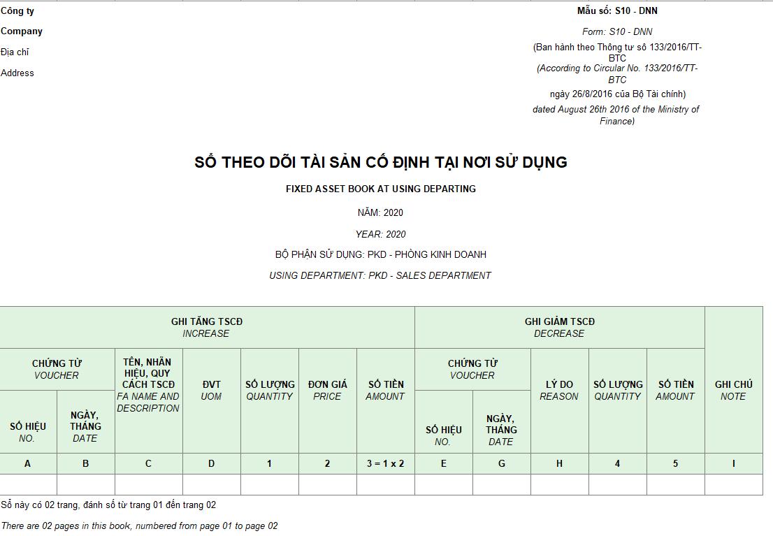 Mẫu sổ theo dõi TSCĐ tại nơi sử dụng theo TT 133 ( Song ngữ)