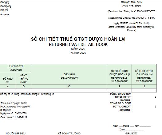Mẫu sổ chi tiết thuế GTGT được hoàn lại theo TT200 ( Song ngữ)
