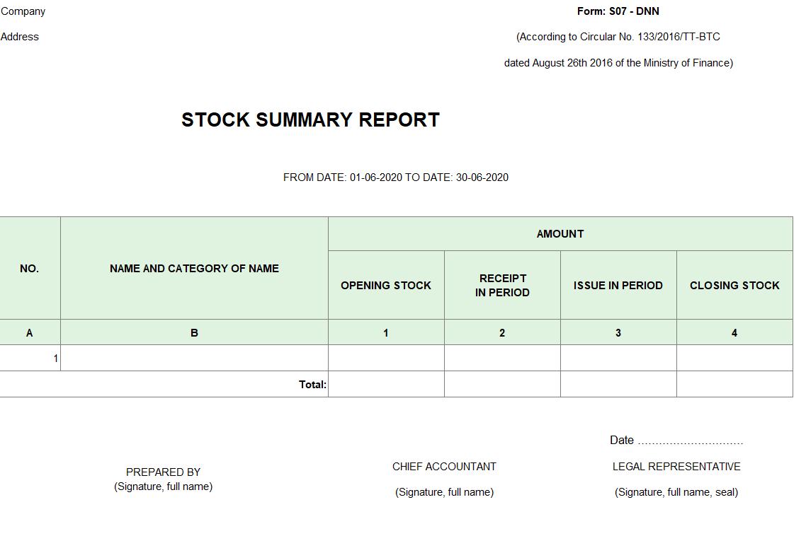 Mẫu bảng tổng hợp chi tiết vật liệu, dụng cụ, SP, hàng hóa (TIẾNG ANH ) theo TT 133