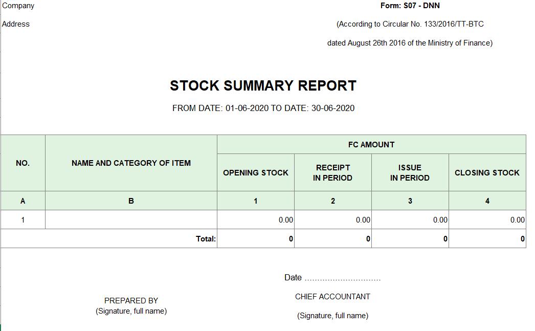 Mẫu bảng tổng hợp chi tiết vật liệu, dụng cụ, SP, hàng hóa (TIẾNG ANH - Ngoại tệ ) theo TT 133