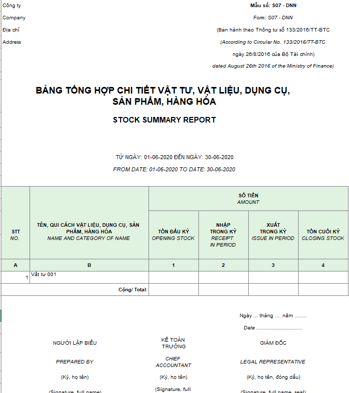 Mẫu bảng tổng hợp chi tiết vật liệu, dụng cụ, SP, hàng hóa ( Song ngữ ) theo TT 133