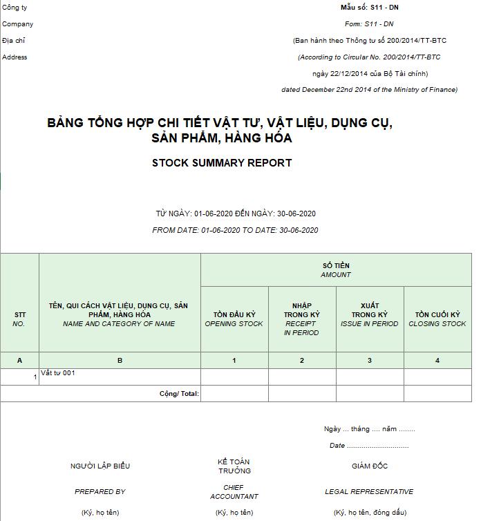 Mẫu bảng tổng hợp chi tiết vật liệu, dụng cụ, SP, hàng hóa ( Song ngữ ) theo TT 200