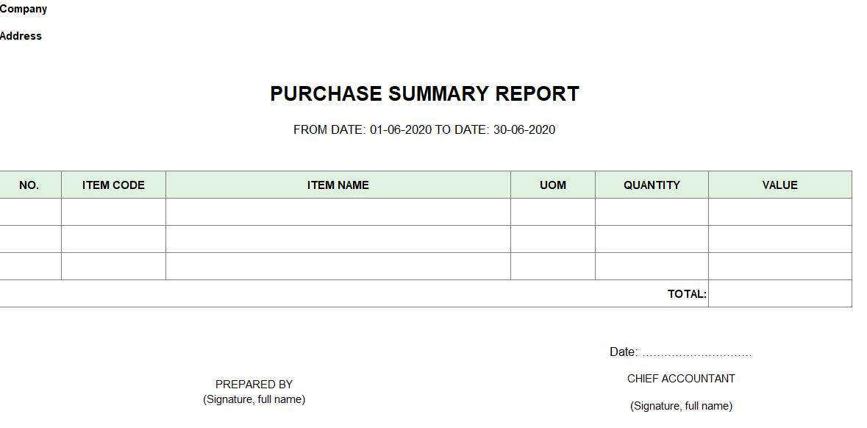 Mẫu báo cáo tổng hợp hàng nhập mua ( TIẾNG ANH)
