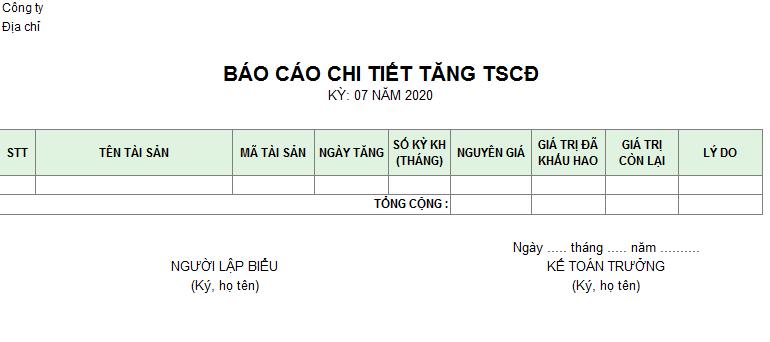 Mẫu báo cáo chi tiết tăng TSCĐ