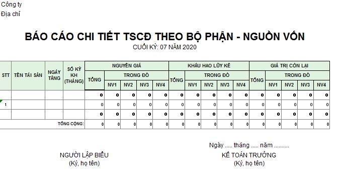 Mẫu báo cáo chi tiết TSCĐ theo bộ phận - nguồn vốn