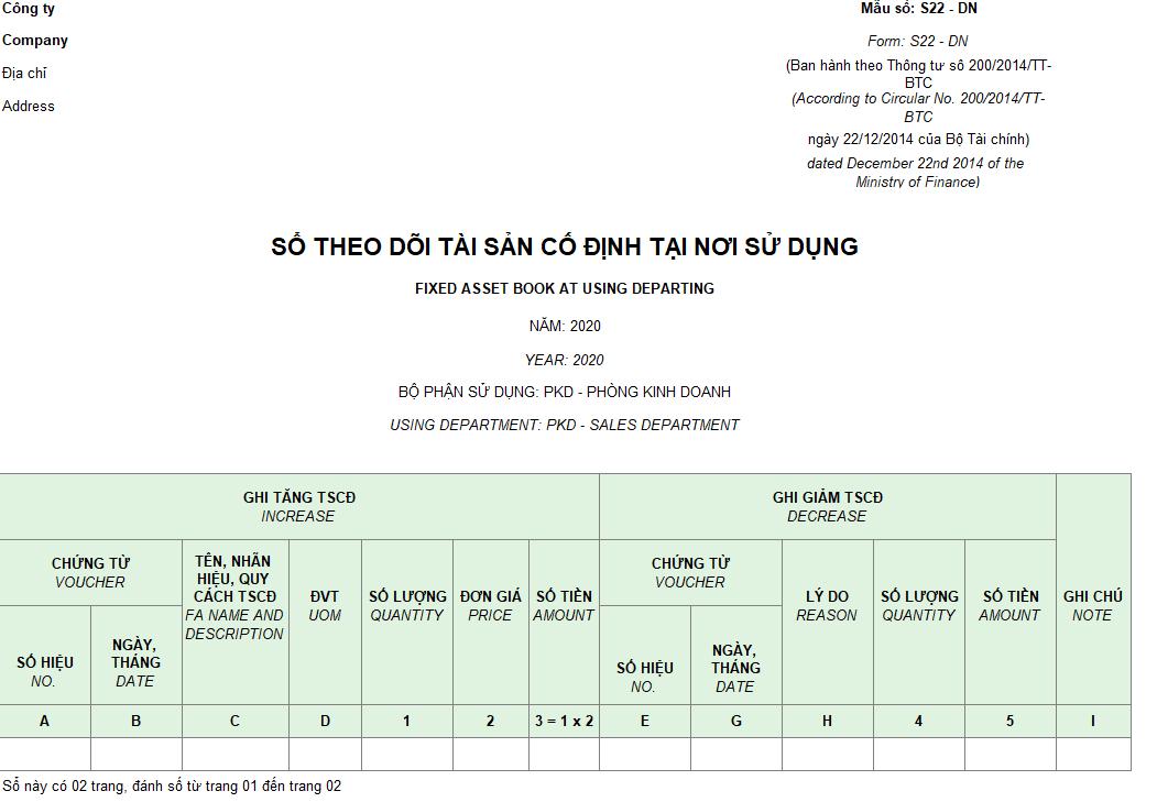 Mẫu sổ theo dõi TSCĐ tại nơi sử dụng theo TT 200 ( Song ngữ)