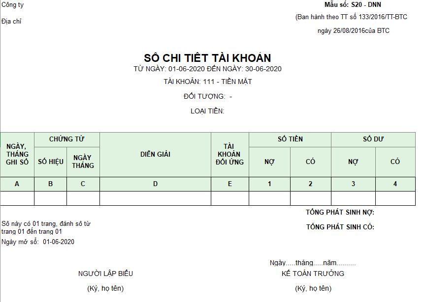 Mẫu sổ chi tiết các tài khoản ( Ngoại tệ) theo TT133/2016/TT-BTC ngày 26/08/2016 của Bộ Tài chính