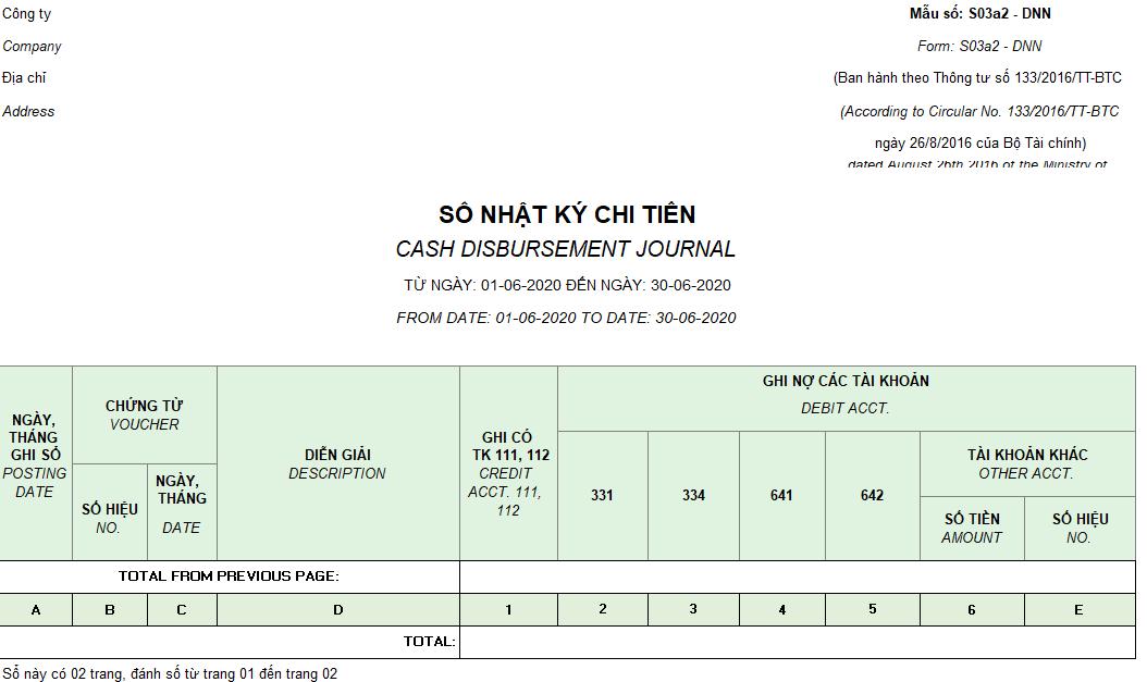 Mẫu sổ nhật ký chi tiền ( Song ngữ) theo TT133/2016/TT-BTC ngày 26/08/2016 của Bộ Tài chính