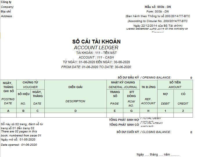 Mẫu Sổ cái ( Song ngữ) theo TT200/2014/TT-BTC