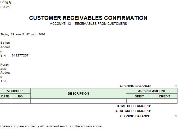 Bản xác nhận công nợ ( TIẾNG ANH - Ngoại tệ)