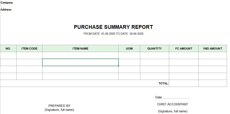 Mẫu báo cáo tổng hợp hàng nhập mua ( TIẾNG ANH - Ngoại tệ)
