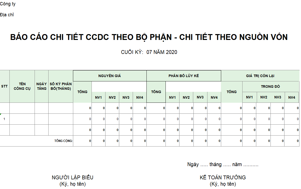 Mẫu báo cáo chi tiết tăng CCDC theo bộ phận - chi tiết theo nguồn vốn