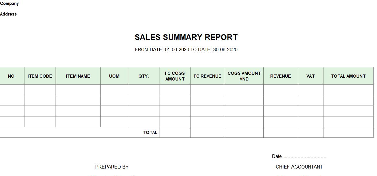 Mẫu báo cáo tổng hợp bán hàng ( TIẾNG ANH - Ngoại tệ)