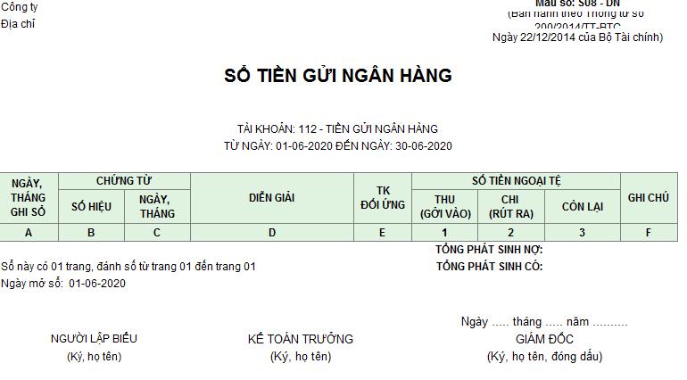 Mẫu sổ tiền gửi ngân hàng ( Ngoại tệ)theo TT200/2014/TT-BTC ngày 22/12/2014 của Bộ Tài chính