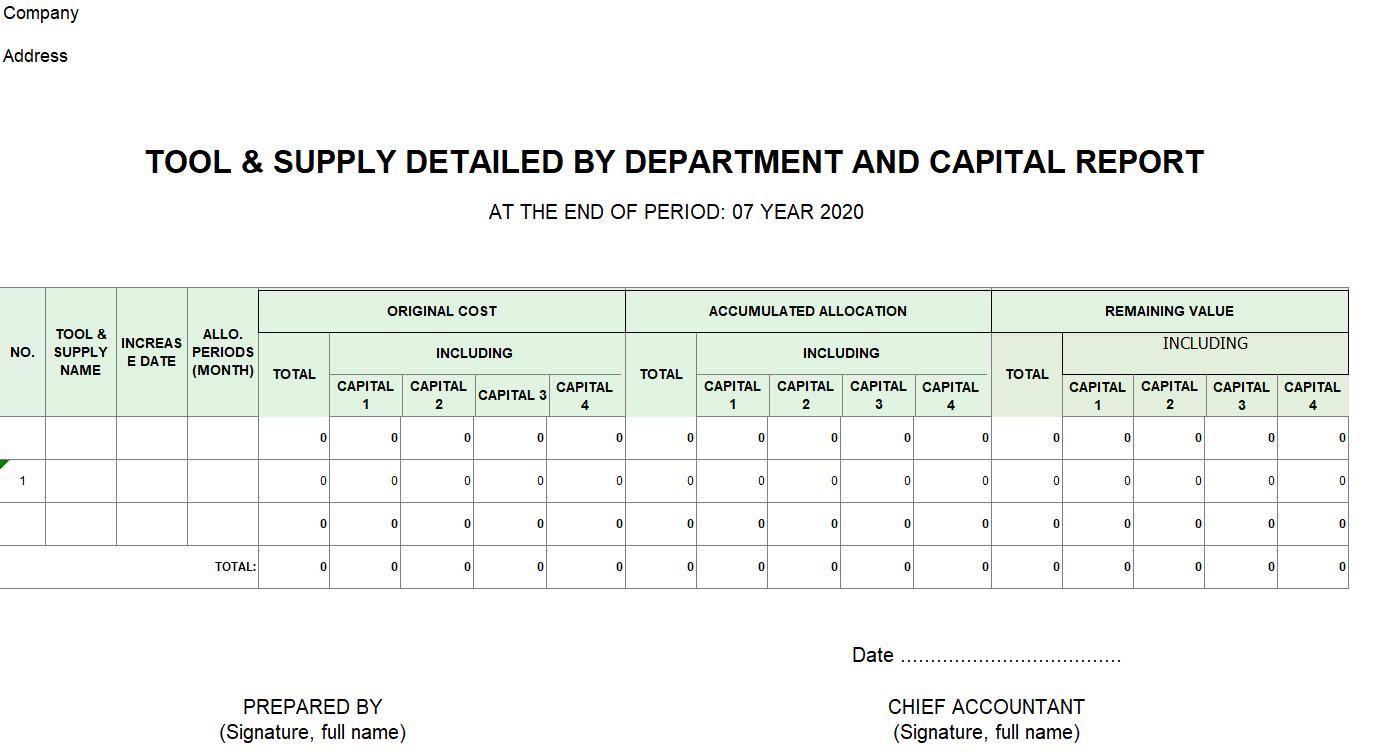 Mẫu báo cáo chi tiết tăng CCDC theo bộ phận - chi tiết theo nguồn vốn ( TIẾNG ANH)