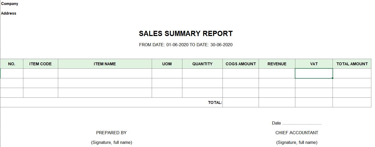 Mẫu báo cáo tổng hợp bán hàng ( TIẾNG ANH)