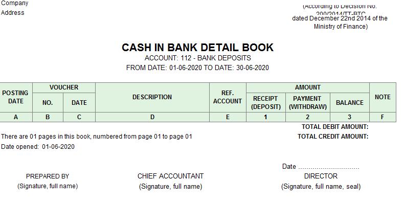 Mẫu sổ tiền gửi ngân hàng( TIẾNG ANH) theo TT200/2014/TT-BTC ngày 22/12/2014 của Bộ Tài chính
