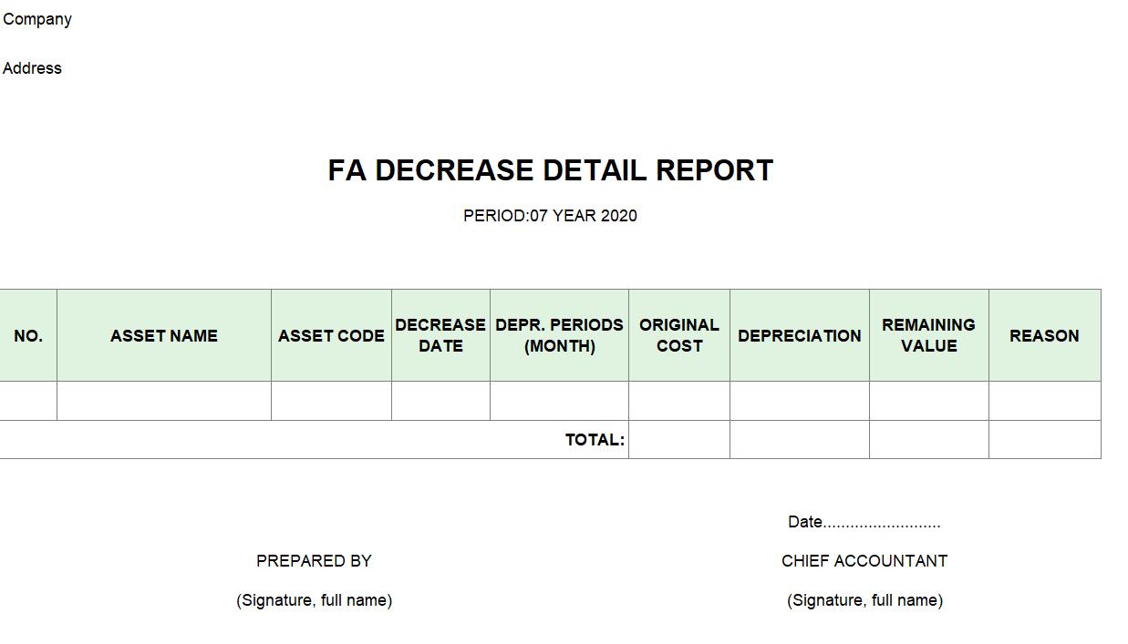 Mẫu  báo cáo chi tiết giảm TSCĐ ( TIẾNG ANH)