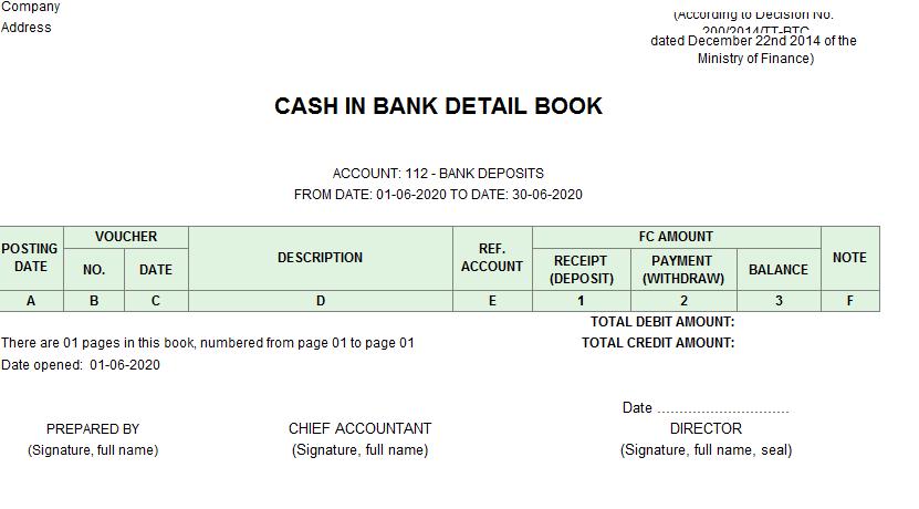 Mẫu sổ tiền gửi ngân hàng ( TIẾNG ANH - Ngoại tệ) theo TT200/2014/TT-BTC ngày 22/12/2014 của Bộ Tài chính