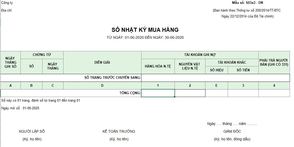 Mẫu sổ nhật ký mua hàng ( Ngoại tệ) theo TT200/2014/TT-BTC