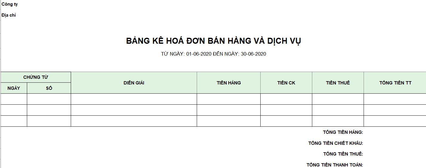Mẫu bảng kê hóa đơn bán hàng và dịch vụ